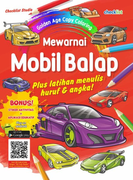 Buku Mewarnai Mobil Balap Checklist Studio Mizanstore