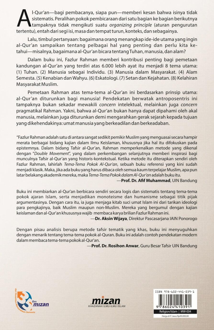 Buku Tema Tema Pokok Al Qur An Fazlur Rahman Mizanstore