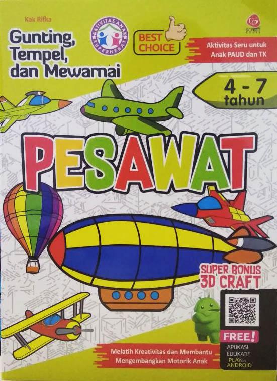 PESAWAT : GUNTING TEMPEL MEWARNAI